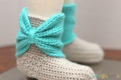 Crochet Bow Cuff Slippers Inside