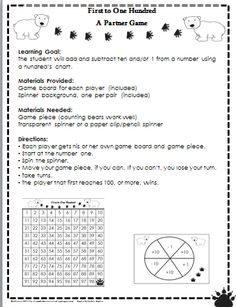 Free Place Value Game   Ten More Ten Less  Great for first grade or second grade review