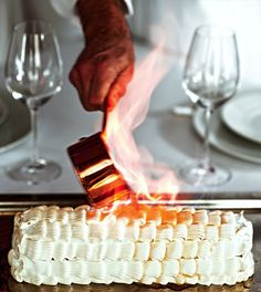 Baked Alaska, flambe with Grand Marnier