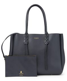 Lanvin Smooth Calfskin Leather Small Shopper Tote Bag