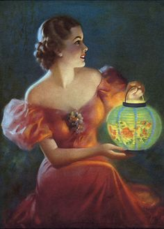 please let me know if you know the artist. Woman holding a paper lantern