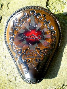 Leather Tooling, Tooled Leather, Bobber, Motorcycle Seats, Leather Projects, Custom Leather, Porsche Logo, Leather Craft, Custom Design