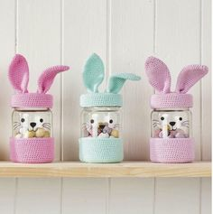 Pattern correction for the Easter bunnies jar in Mollie Makes Mollie Makes the one with the crochet bunny jar cosies, has just gone on sale and we've noticed a mistake in the pattern. We apolo Crochet Bunny Pattern, Crochet Rabbit, Crochet Wool, Easter Crochet, Diy Crochet, Crochet Crafts, Crochet Patterns, Easter Crafts, Fun Crafts