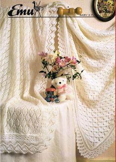 Emu 8702 baby shawls christening vintage knitting by Ellisadine, £1.15