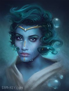 Water Genasi by samanthajoanneart on DeviantArt Character Creation, Character Concept, Character Art, Concept Art, Fantasy Races, Fantasy Rpg, Fantasy Girl, High Fantasy, Fantasy Portraits