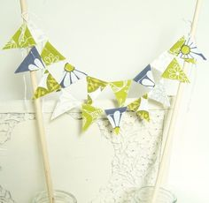 Chartreuse, Moss Green and Grey Cake Banner, Bunting Banner, Banners, Wedding Cake Bunting, Wedding Cakes, Diy Garland, Spring Wedding, Scrapbook Paper, Green And Grey