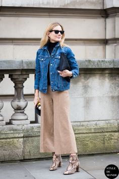 Lucy & her camel culottes. London. #FashionMeNow