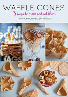 Ice Cream Waffle Cone, Waffle Cones, Ice Cream Toppings, Waffle Recipes, Ice Cream Recipes, Snack Recipes, Dessert Recipes, Frozen Desserts, Frozen Treats