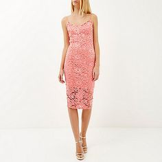 Pink lace bodycon cami dress - River Island