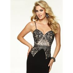 2015 Sexy Back Beaded Straps Black Nude Fitted Prom Dress [Mori Lee 97104 Black Nude] - $198.00 : found on Polyvore