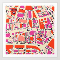 paris map pink by Holli Zollinger