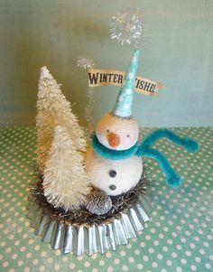 Winter WISHES Vintage Inspired Snowman Folk by CatandFiddlefolk