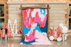 colorful painted wedding backdrop by Emily Rickard Fine Art // Green Wedding Shoes