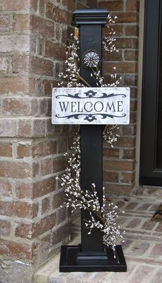 Rustic Sign Post, Rustic Porch Post, Wood Rustic Sign Post, Welcome Sign