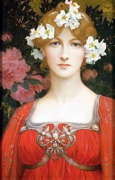 Woman w White Flowers in Hair Elisabeth Sonrel