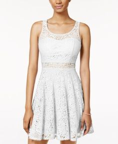 caa76e4264a53f American Rag Juniors  Lace Illusion Skater Dress