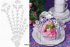 Lace tea-cup by Miss Rose Sister Violet. lace teacup for party decor . Crochet Vase, Diy Crochet Basket, Crochet Basket Pattern, Crochet Gifts, Crochet Motif, Crochet Doilies, Crochet Christmas Decorations, Christmas Crochet Patterns, Crochet Storage