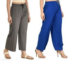 Checkout this latest Palazzos Product Name: *Gladly Women's Solid beautifull Pallazzos for women and Girls 2Pcs Combo* Fabric: Polyester Pattern: Textured Multipack: 2 Sizes:  28 (Waist Size: 28 in, Length Size: 37 in)  30 (Waist Size: 30 in, Length Size: 37 in)  32 (Waist Size: 32 in, Length Size: 37 in)  34 (Waist Size: 34 in, Length Size: 37 in)  36, 38 Easy Returns Available In Case Of Any Issue   Catalog Rating: ★4 (380)  Catalog Name: Fancy Fabulous Women Palazzos CatalogID_2330673 C79-SC1039 Code: 054-12178902-6711