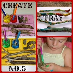 Four Little Piglets: CREATE TRAY NO.5 PAINTING STICKS & ROCKS
