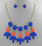 Circles and Marquise Statement Necklace Set from Bijoux Boutique