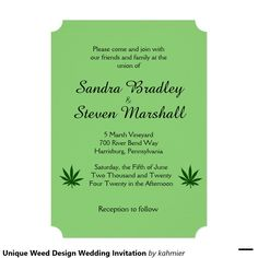 Unique Weed Design Wedding Invitation