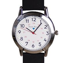 """Nurse Mates Unisex Watch - Black. This unisex watch offers an oversized dial with black silicone strap. Features military time, second hand and is water resistant. Case measures 1 1/2"""" in diameter. Battery SR626SW included. Fits Wrist sizes 6 1/2"""" - 8""""."""