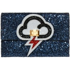 ANYA HINDMARCH Glitter Clutch (8,635 THB) ❤ liked on Polyvore featuring bags, handbags, clutches, embellished handbags, clasp purse, blue clutches, glitter purse and anya hindmarch handbag