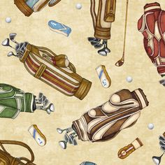 Golf  Fabric / Golf Bags on Cream Fabric / quilting Treasures Tee'd Off 24737 / Fat Quarters and Yardage / Golf material by the yard by SewWhatQuiltShop on Etsy