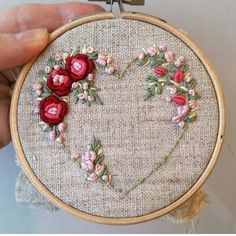 Wonderful Ribbon Embroidery Flowers by Hand Ideas. Enchanting Ribbon Embroidery Flowers by Hand Ideas. Embroidery Hearts, Rose Embroidery, Silk Ribbon Embroidery, Embroidery Hoop Art, Vintage Embroidery, Pillow Embroidery, Embroidery Tattoo, Brazilian Embroidery Stitches, Hand Embroidery Stitches