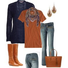 """Rust and Navy"" by smores1165 on Polyvore"