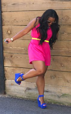 "color blocking, hot pink dress, cobalt blue wedges    #thick   #curvy   ""if you follow my Curvy Girl's Spring/Summer Closet, make sure to follow my Curvy Girl's Fall/Winter Closet.""   http://pinterest.com/blessedmommyd/curvy-girls-fallwinter-closet/"