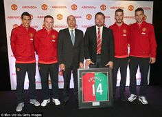 Robin van Persie (far right) was talking at the launch of Abengoa on Monday...