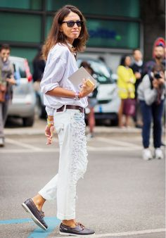 A button-down shirt, embellished boyfriend jeans, and deck shoes