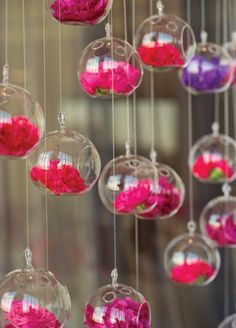 Hanging glass globe wedding decor: Kate McElwee Photography / TheKnot.com