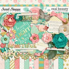 Real Beauty Digital Scrapbook Kit by Megan Turnidge - Real Beauty celebrates natural beauty and is full of positive messages. The beautiful, soft palette in shades of mint, teal, coral, and blush - accented with gold foil touches - is stunning and on trend.