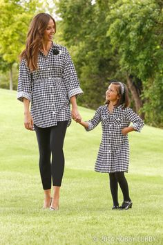 """These """"Mommy & me"""" houndstooth outfits were made using McCall's pattern #6389 for the girl's dress and Simplicity pattern #2447 for the grown-up version."""