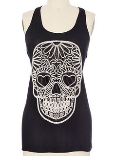The Mortal End Skull Tank Top at PLASTICLAND