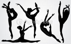 Черные силуэты балерина — Векторное изображение © katarinka #26245211