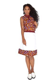 Mayamiko | White Midi skirt with Paisley