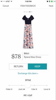 Gilli Ryland Maxi dress. Not sure about the print or the keyhole cut out, but I do like solid top/print bottom and short sleeves. (Not against sleeveless, this is just different from the norm.)