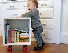 DIY Cubby with skateboard wheels  http://www.homedit.com/diy-book-cubby-skateboard-wheels/#