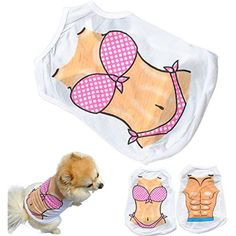 Pets Corner Market 2017 Hot Sale Sexy Pet Dog Summer Ventilate Vest T-shirt Chest Muscle Bikini Casual Puppy Clothes Hondenkleding Dog Clothes (B, Large) * Find out more about the great product at the image link. (This is an affiliate link) #Dogs