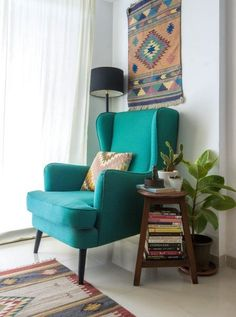 The wingback chair is a piece that Daribha sourced from Chor Bazaar in Mumbai. Photography by Pulkit Sehgal Home Room Design, Home Interior Design, Living Room Designs, Design Homes, Room Interior, Design Design, Indian Room Decor, Ethnic Home Decor, Indian Bedroom