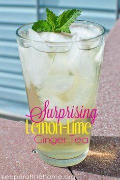 Surprising Lemon-Lime Ginger Tea - made with lemon balm, ginger root, green tea, lime, and cilantro
