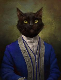 Cat Victorian Portrait Handmade Oil Painting on Canvas art Decor - Painting - Ideas of Painting Oil Painting On Canvas, Canvas Art, Victorian Portraits, Black Cat Art, Fancy Cats, Cat People, Animal Heads, Animal Paintings, Cat Memes