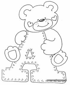 Patterns of the Teddy Alphabet - Patchwork and Painting - Tips for Mom Sewing Appliques, Applique Patterns, Quilt Patterns, Baby Applique, Letras Baby Shower, Felt Crafts, Paper Crafts, Coloring Books, Coloring Pages
