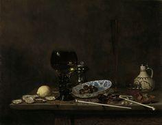 Jan Jansz. van de Velde (III)   Still Life with Roemer, Flute Glass, Earthenware Jug and Pipes, Jan Jansz. van de Velde (III), 1651   Stilleven met een roemer met witte wijn, een fluitglas en laag glas met bier, een aarden kruik, twee pijpen met een vuurtestje en een tabaksdoos, een Chinese bord met olijven, een citroen, enkele oesters en een mes.