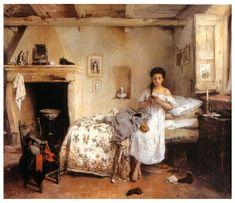 TRISTE PRESENTIMENTO (La fidanzata del garibaldino) – GEROLAMO INDUNO 1862, olio su tela 67x86cm