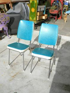 Superior Chairs Retro Kitchen Pair Blue AND White Vinyl ON Chrome In Melbourne, VIC  | EBay