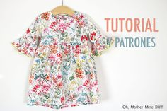 Patrones vestido manga volante para niña (gratis hasta talla 9 años) Sewing Kids Clothes, Sewing For Kids, Baby Sewing, Couture Sewing, Diy Dress, S Girls, Floral Tops, Kids Fashion, Creations